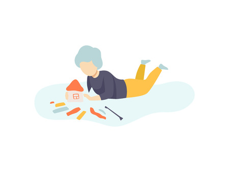 Boy Sitting on Floor and Making House from Plasticine, Kids Creativity, Education, Development Vector Illustration Illustration