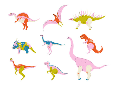 Collection of Colorful Dinosaurs, Pterodactyl, Carnotaurus, Styracosaurus, Diplodocus, Compsognathus, Brachiosaurus, Brontosaurus, Tyrannosaurus, Velociraptor Cute Prehistoric Animals Vector Illustration