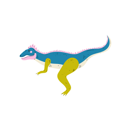 Apatosaurus Colorful Dinosaur, Cute Prehistoric Animal Vector Illustration
