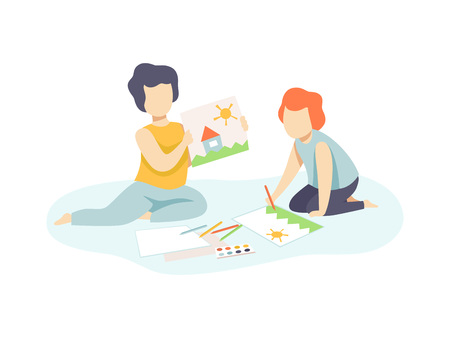 Two Cute Boys Sitting on Floor and Drawing, Kids Creativity, Education, Development Vector Illustration on White Background. Illustration