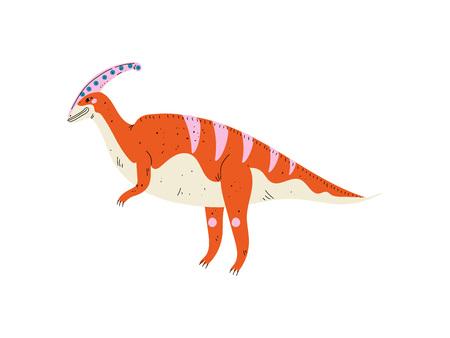 Colorful Parasaurolophus Dinosaur, Cute Prehistoric Animal Vector Illustration