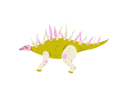 Colorful Carnotaurus Dinosaur, Cute Prehistoric Animal Vector Illustration