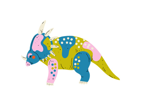 Colorful Styracosaurus Dinosaur, Cute Prehistoric Animal Vector Illustration Illustration