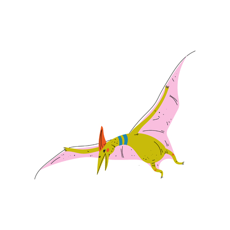 Colorful Pterosaur Dinosaur, Cute Prehistoric Animal Vector Illustration