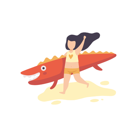 Cute Girl in Swimsuit Running with Inflatable Crocodile, Kid Having Fun on Beach on Summer Holidays Vector Illustration on White Background. Illustration