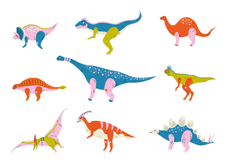 Collection of Colorful Dinosaurs, Brontosaurus, Tyrannosaurus, Ankylosaurus, Tsintaosaurus, Pterodactyl, Parasaurolophus, Stegosaurus, Carnotaurus Cute Prehistoric Animals Vector Illustration on White Background