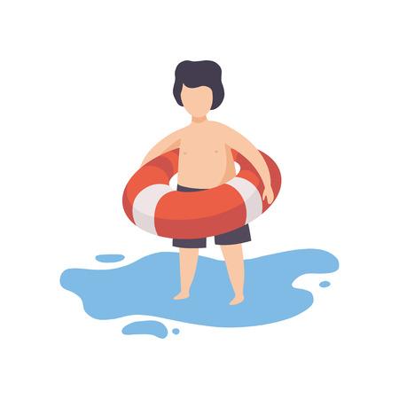 Ładny chłopak trzymając nadmuchiwane koło ratunkowe, dziecko zabawy na plaży na letnie wakacje wektor ilustracja na białym tle.