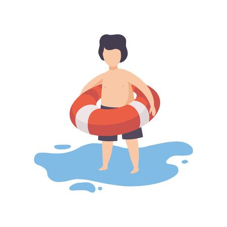 Cute Boy Holding Inflatable Lifebuoy, Kid Having Fun on Beach on Summer Holidays Vector Illustration on White Background.
