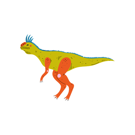 Colorful Tsintaosaurus Dinosaur, Cute Prehistoric Animal Vector Illustration Illustration