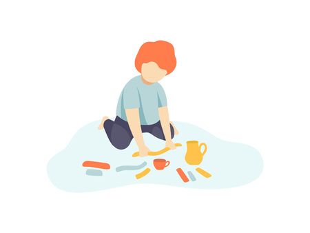 Little Boy Sitting on Floor and Making Figures from Plasticine, Kids Creativity, Education, Development Vector Illustration