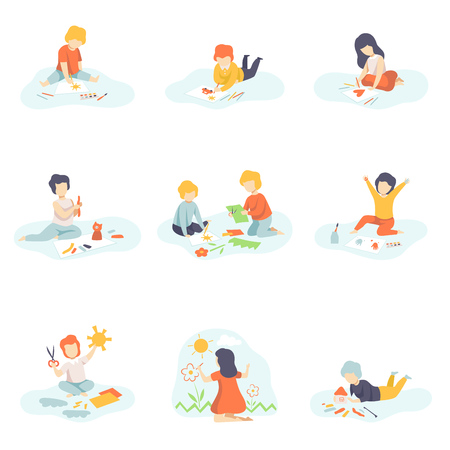 Collection of Boys and Girls Sitting on Floor Painting, Cutting with Scssors, Drawing with Pencils, Modelling from Plasticine, Kids Creativity, Education, Development Vector Illustration on White Background.