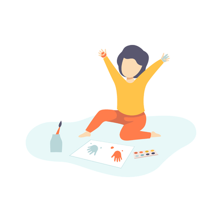 Cute Boy Sitting on Floor and Painting with Colorful Handprints, Kids Creativity, Education, Development Vector Illustration on White Background.