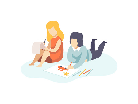 Cute Boy and Girl Drawing with Pencils, Kids Creativity, Education, Development Vector Illustration on White Background.