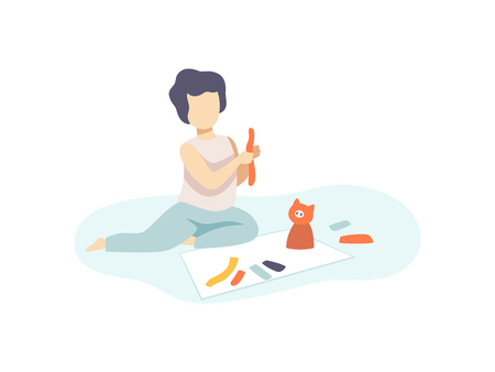 Cute Boy Sitting on Floor and Making Figures from Plasticine, Kids Creativity, Education, Development Vector Illustration
