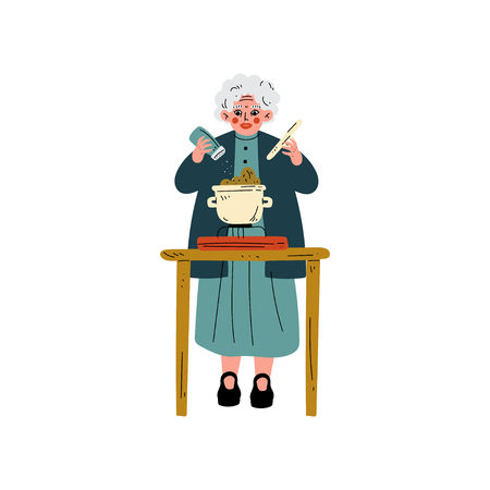 Senior Woman Cooking on Kitchen, Olld Lady Daily Activity Vector Illustration on White Background. Vector Illustration