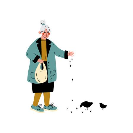 Donna maggiore che alimenta gli uccelli, illustrazione di vettore di attività quotidiana della vecchia signora Vettoriali