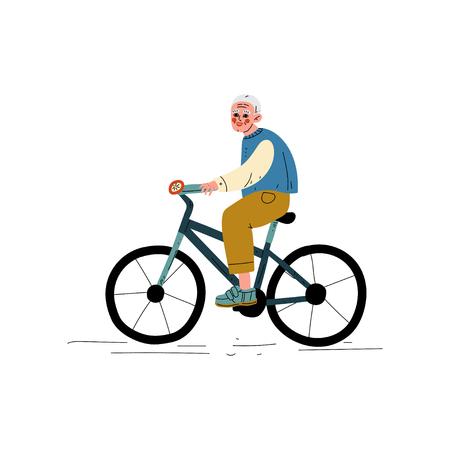 Senior Man Riding Bike,Healthy Lifestyle, Elderly Man Daily Activity Vector Illustration on White Background.