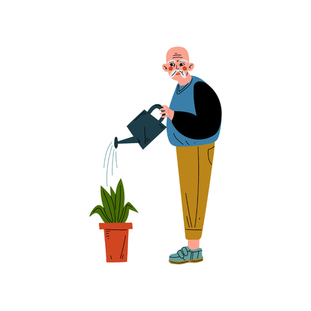 Senior Man Watering Flower with Can, Elderly Man Daily Activity Vector Illustration on White Background. Ilustração