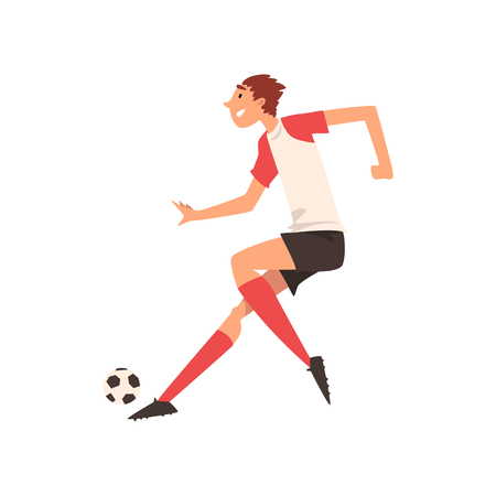 Soccer Player Kicking Ball, Football Player Character in Uniform Practicing Football Vector Illustration