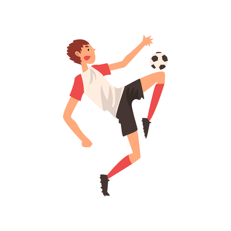 Soccer Player Kicking Ball, Professional Football Player Character in Sports Uniform Vector Illustration on White Background.