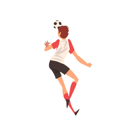 Soccer Player Shooting Ball with Head, Football Player Character in Uniform, Back View Vector Illustration on White Background. Ilustracja