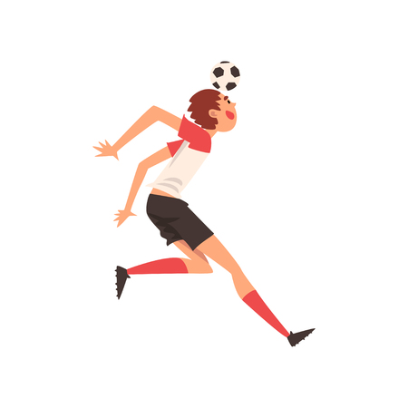 Soccer Player Shooting Ball with Head, Football Player Character in Uniform Vector Illustration