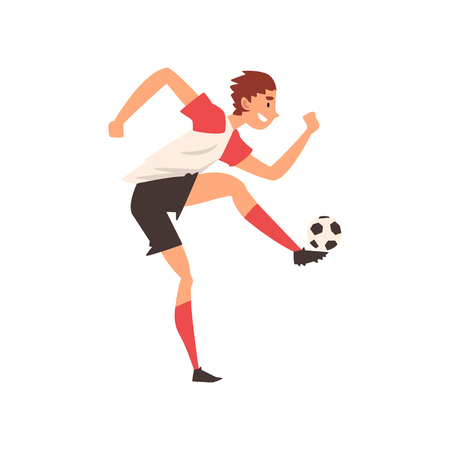Soccer Player Kicking Ball, Professional Football Player Character in Uniform Training and Practicing Soccer, Front View Vector Illustration