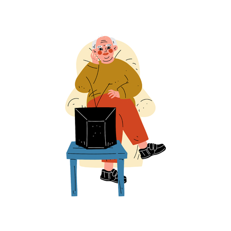 Senior Man Sitting on Armchair Watching TV, Elderly Man Daily Activity Vector Illustration Illustration