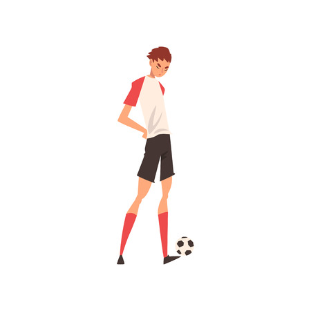 Professional Soccer Player Standing with Ball, Football Player Character in Uniform Training and Practicing Soccer Vector Illustration on White Background. Zdjęcie Seryjne - 125455881