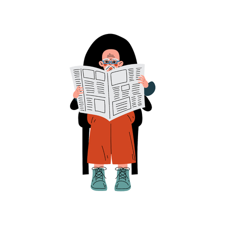 Elderly Man Sitting in Armchair Reading Newspaper, Elderly Man Daily Activity Vector Illustration on White Background.