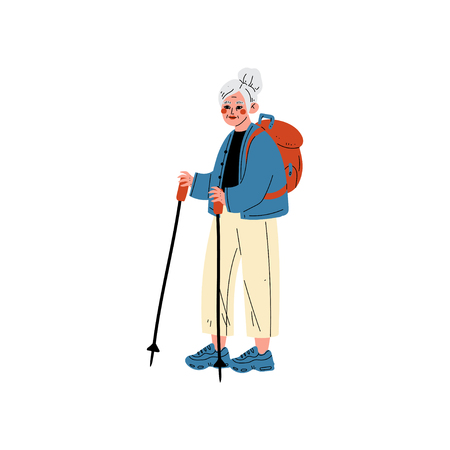 Senior Woman Traveling with Backpack, Nordic Walking, Old Lady Daily Activity Vector Illustration on White Background.