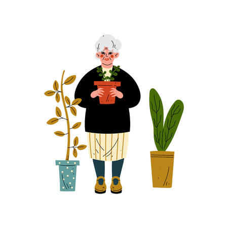 Elderly Woman Caring for Plants, Old Lady Daily Activity Vector Illustration on White Background.