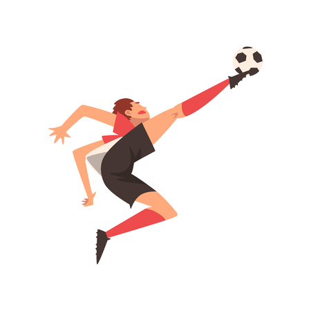 Soccer Player Kicking Ball, Football Player Character in Uniform Vector Illustration on White Background. Ilustrace