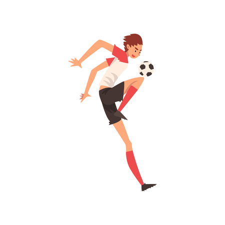 Professional Soccer Player Kicking Ball, Football Player Character in Uniform Vector Illustration on White Background. Illustration