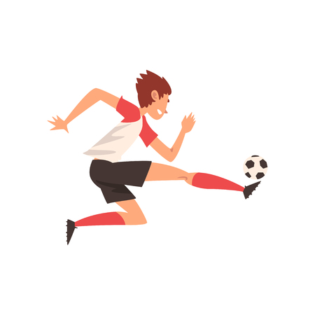 Soccer Player Kicking Ball, Football Player Character in Sports Uniform Training and Practicing Football Vector Illustration on White Background.