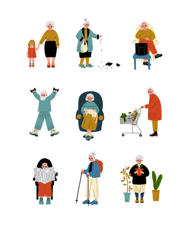 Senior People Daily Activity Set, Elderly Men and Women Reading, Traveling, Shopping, Doing Sports, Caring Plants Vector Illustration