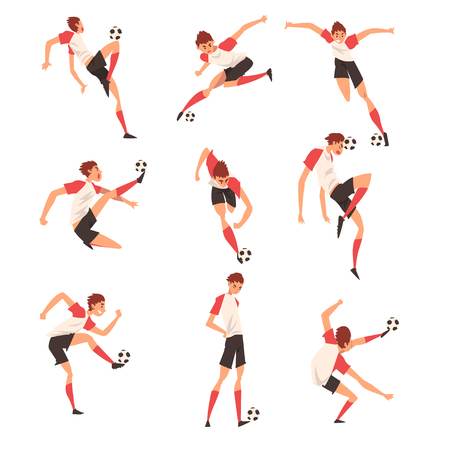 Soccer Player in Different Poses Set, Professional Football Player Character in Sports Uniform Kicking Ball Vector Illustration on White Background.