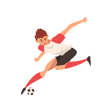 Professional Soccer Player Running and Kicking Ball, Football Player Character in Uniform Training and Practicing Soccer Vector Illustration on White Background. Ilustracja