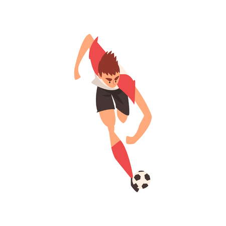 Professional Soccer Player Running and Kicking Ball, Football Player Character in Uniform Training and Practicing Soccer, Front View Vector Illustration on White Background.
