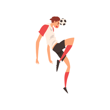 Soccer Player with Ball, Professional Football Player Character in Uniform Training and Practicing Soccer Vector Illustration on White Background. Ilustrace