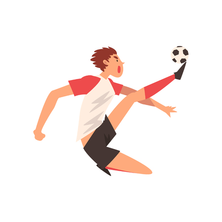 Professional Soccer Player Kicking Ball, Football Player Character in Uniform Training and Practicing Soccer Vector Illustration