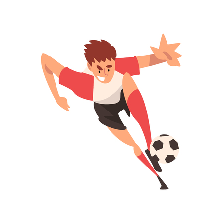 Soccer Player Kicking Ball, Football Player Character in Uniform Training and Practicing, Front View Vector Illustration on White Background. Ilustracja