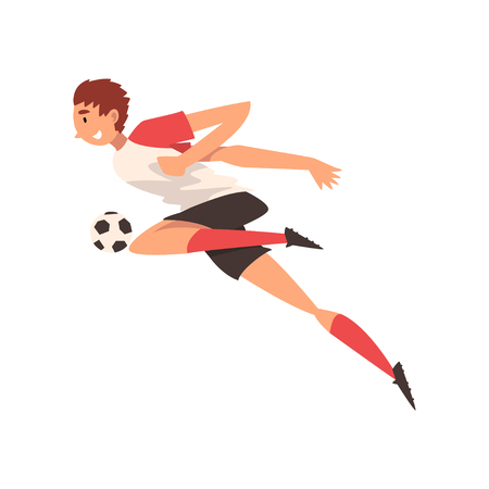 Professional Soccer Player Kicking Ball, Football Player Character in Uniform, Side View Vector Illustration on White Background. Ilustracja