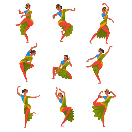 Young woman Performing Folk Dance Set, Smiling Indian Dancer Character Dancing in Traditional Clothes Vector Illustration Vettoriali
