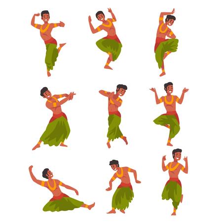 Carácter de bailarina india en conjunto tradicional de Sari, hermosa mujer joven realizando danza Vector ilustración