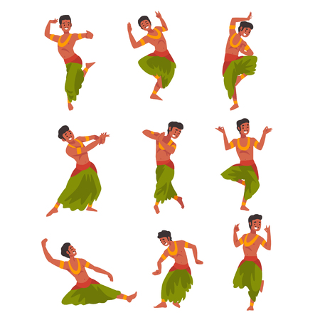 Indian Dancer Character in Traditional Sari Set, Beautiful Young Woman Performing Dance Vector Illustration Çizim