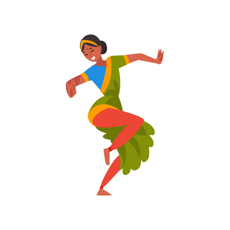 Female Indian Dancer in Traditional Clothes, Young Smiling Woman Performing Folk Dance Vector Illustration Illustration
