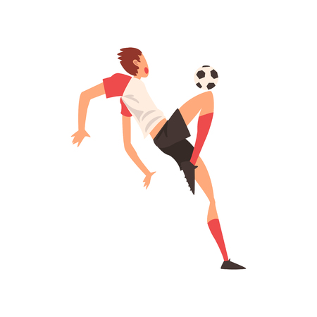 Professional Soccer Player Shooting Ball, Football Player Character in Uniform Training and Practicing Soccer Vector Illustration on White Background. Ilustracja