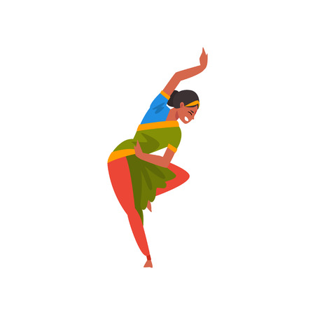 Female Indian Dancer in Traditional Clothes, Beautiful Young Smiling Woman Performing Folk Dance Vector Illustration