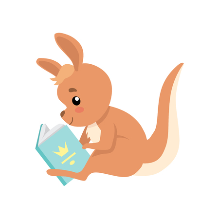 Cute Baby Kangaroo Sitting and Reading Book, Brown Wallaby Australian Animal Character Vector Illustration on White Background. Illustration